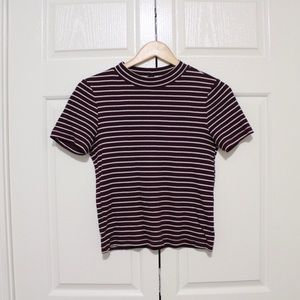 Striped Maroon Ribbed T-Shirt with Mock Neck